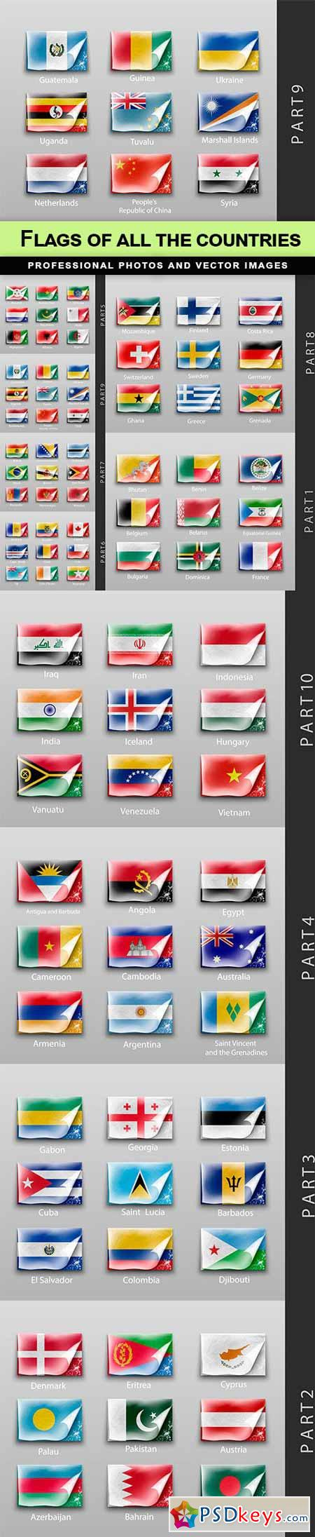 Flags of all the countries - 10 EPS