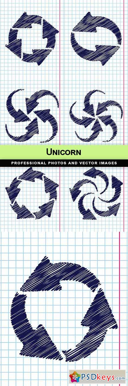 Vector hand drawn circle round arrows for business - 7 EPS