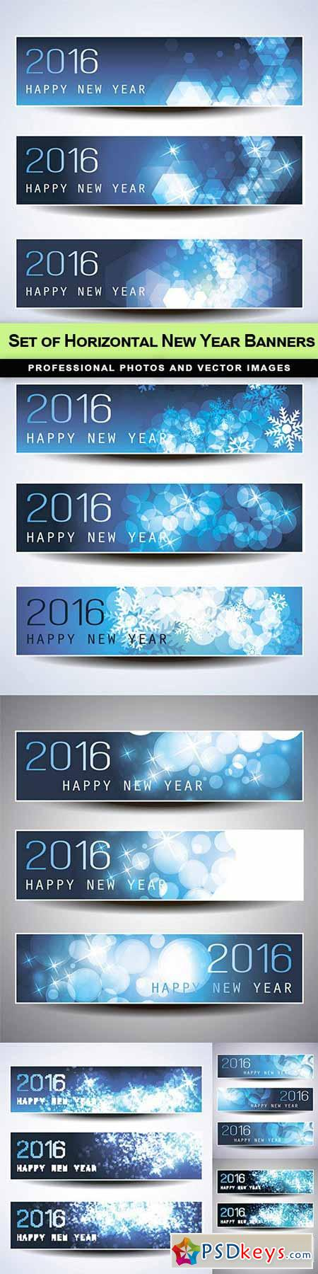 Set of Horizontal New Year Banners - 6 EPS