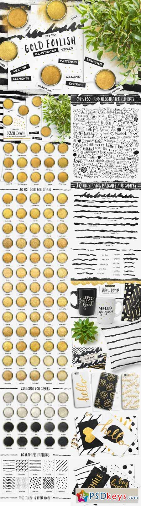 ILLUSTRATOR Gold Styles + EXTRAS! 377536