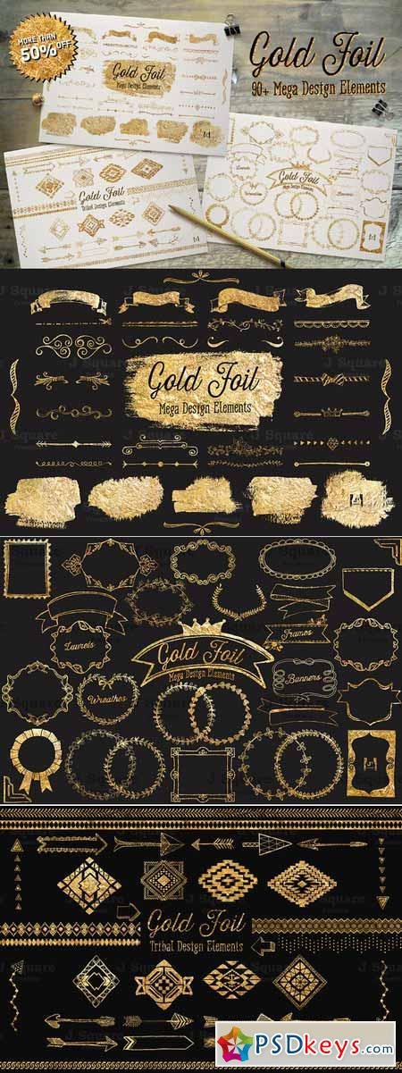 Gold Foil Mega Vector DesignElement 128012