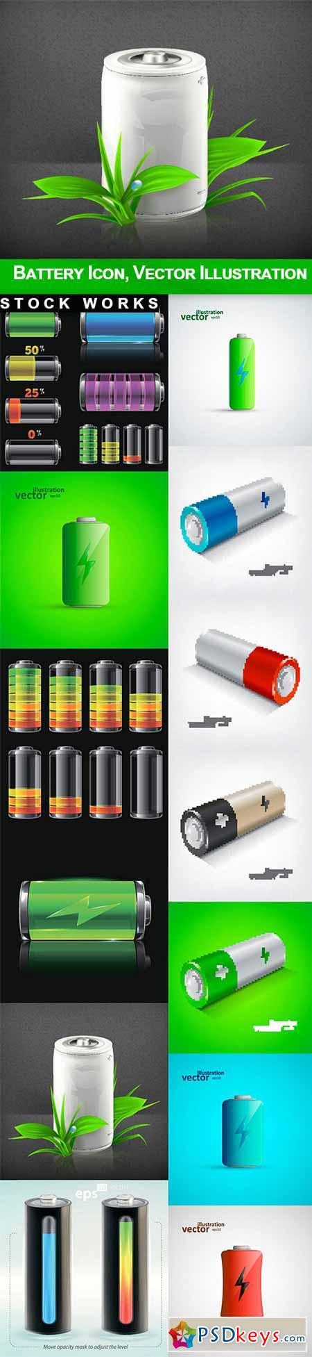 Battery Icon, Vector Illustration - 13 EPS