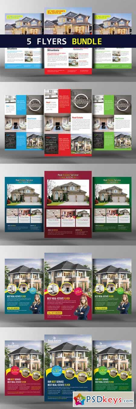 5 Real Estate Agents Flyers Bundle 384200