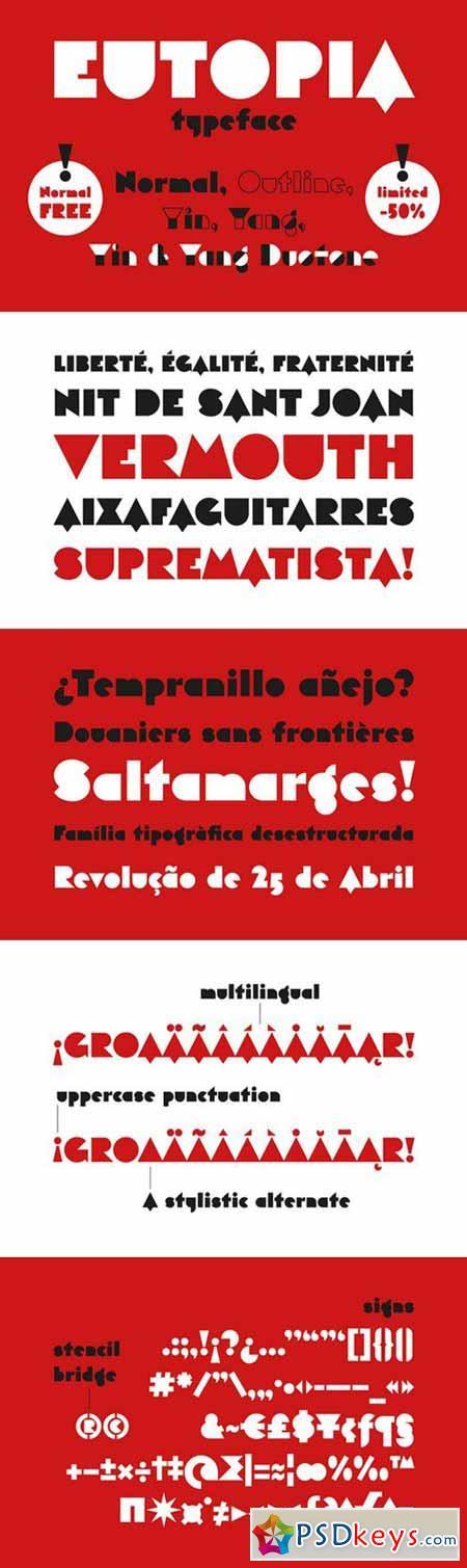 Eutopia Typeface (6 Fonts) 380068