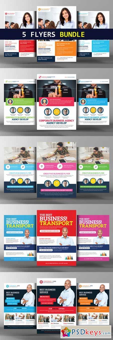 5 Transport Business Flyers Bundle 384196