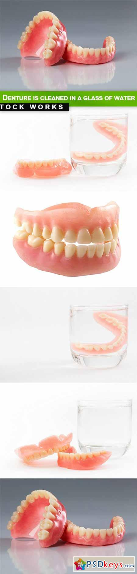 Denture is cleaned in a glass of water - 5 UHQ JPEG