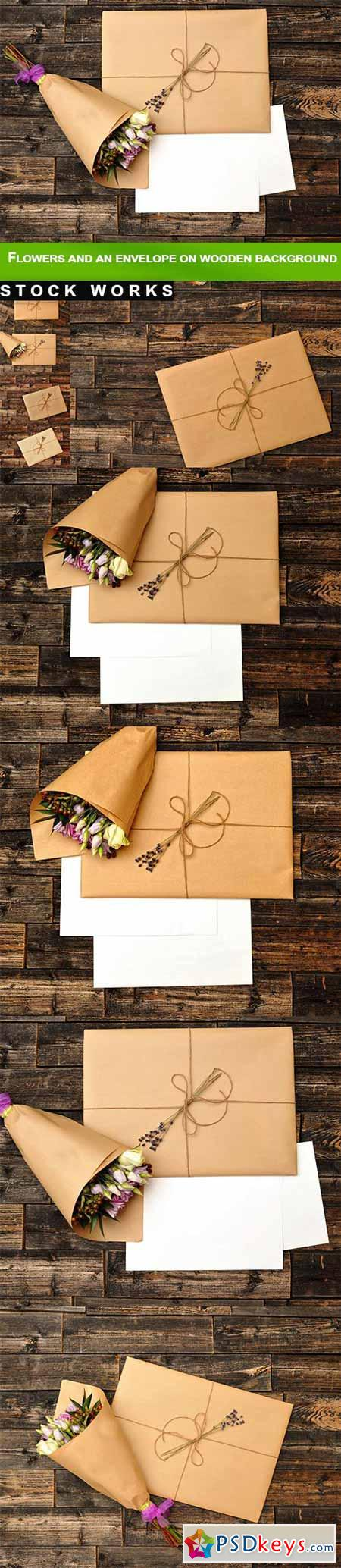 Flowers and an envelope on wooden background - 9 UHQ JPEG