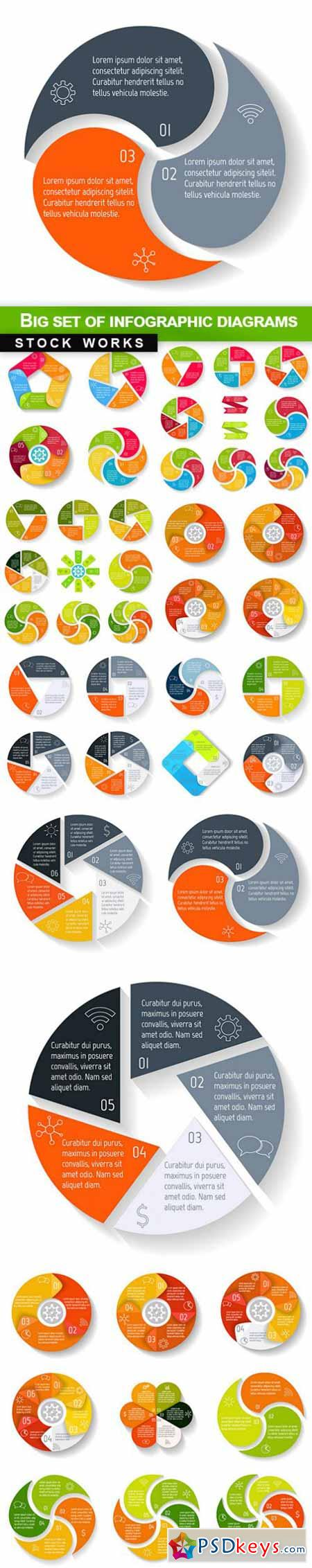 Big set of infographic diagrams - 10 EPS