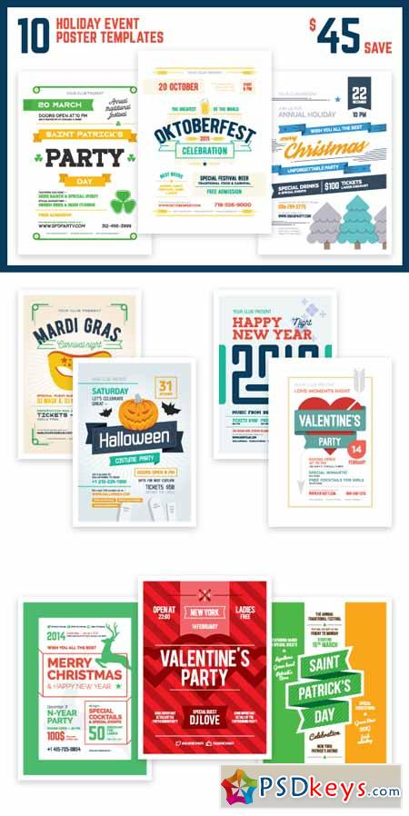 Holiday Event Poster Bundle 384217 Free Download Photoshop Vector