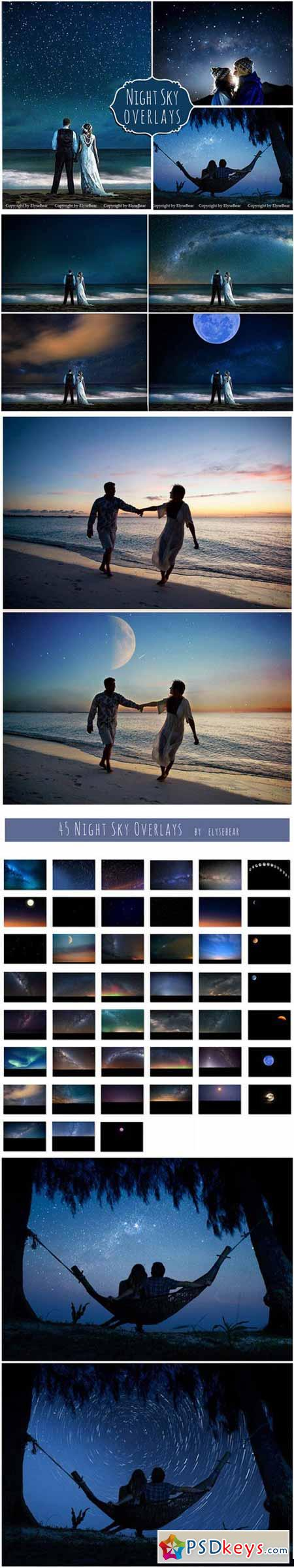45 Night Sky Photoshop Overlays 387716