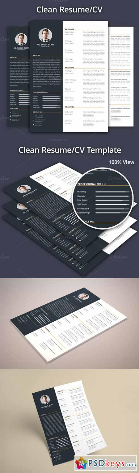 Clean Resume CV Template 388345