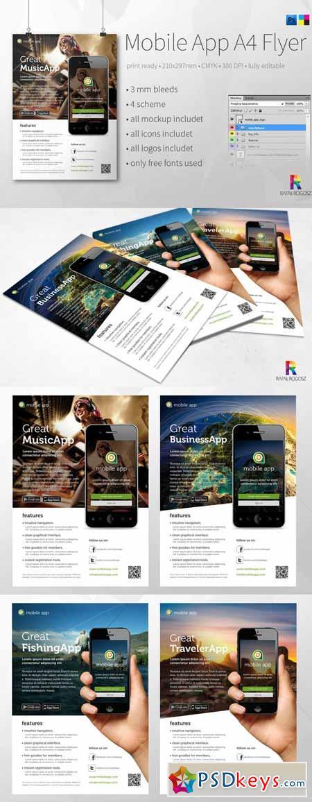 Mobile App A4 Flyer v3 384828