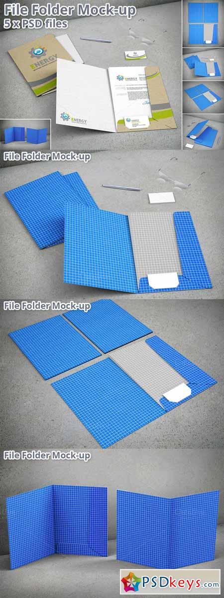 Stationary File Folder Mockup 5xPSD 384515