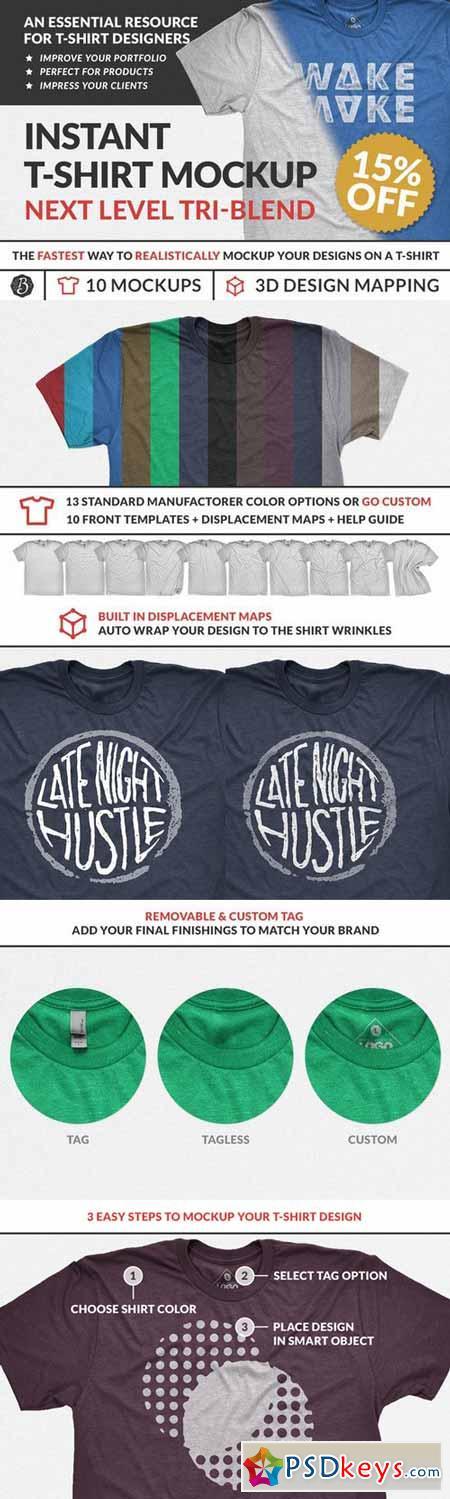 Instant Tri-Blend T-Shirt Mockups 388693