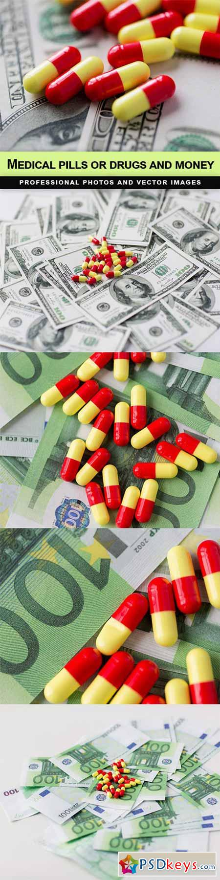 Medical pills or drugs and money - 5 UHQ JPEG