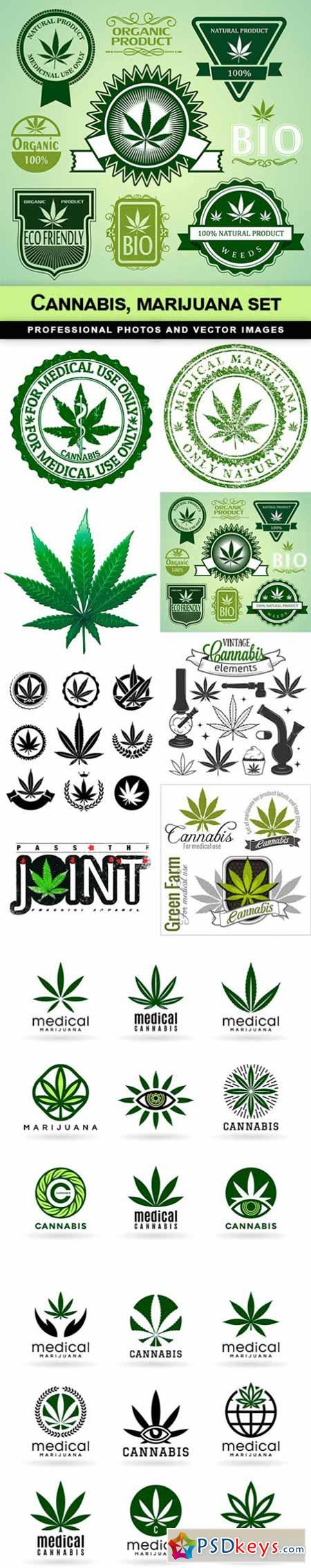 Cannabis, marijuana set - 10 EPS