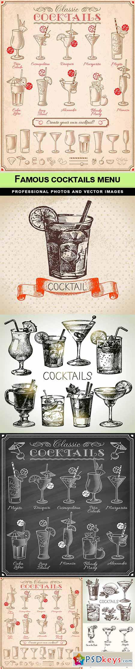 Famous cocktails menu - 6 EPS