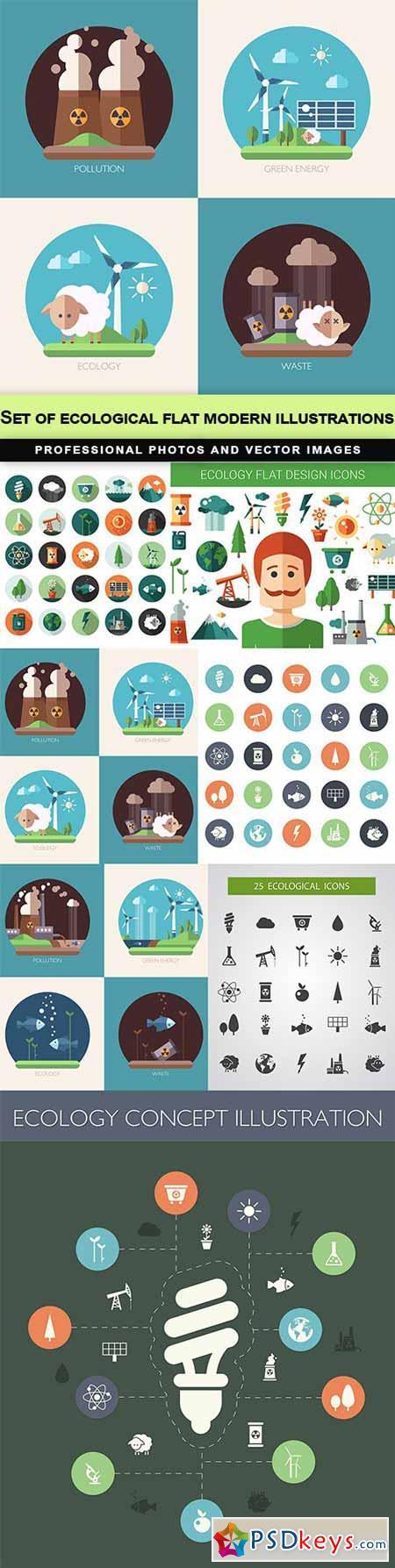 Set of ecological flat modern illustrations - 7 EPS