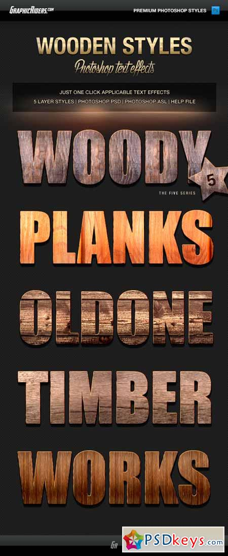 Various Text Effects Vol.3 - Wooden Styles 13080634