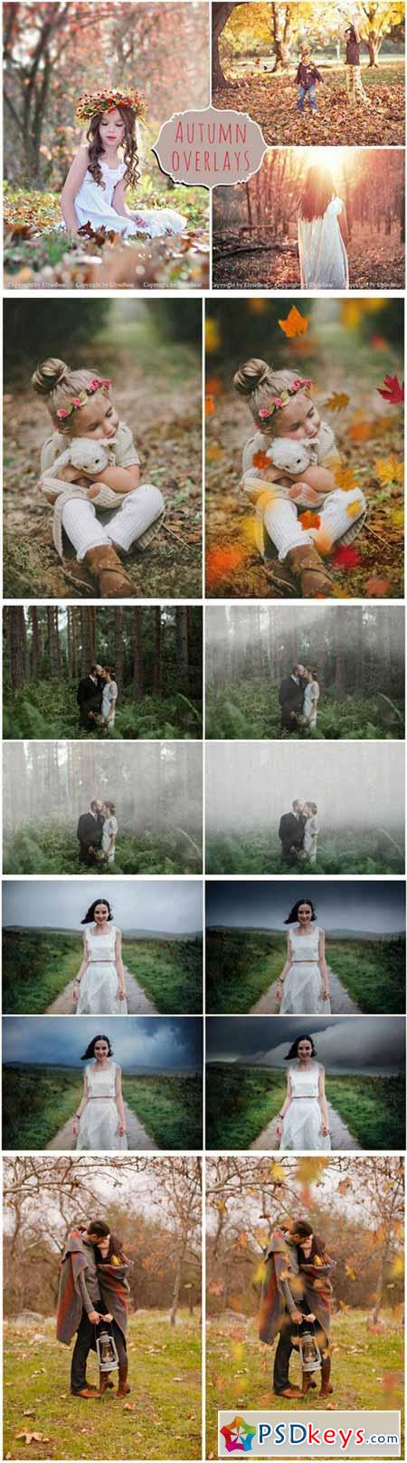 50 Autumn Photoshop Overlays Bundle 387715