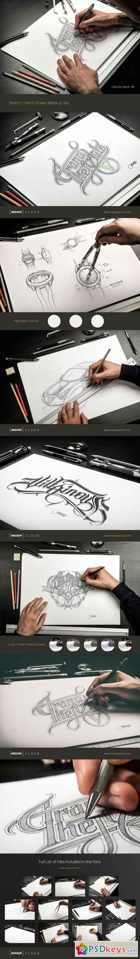 Sketch Hand Drawn Mockup Set 388072