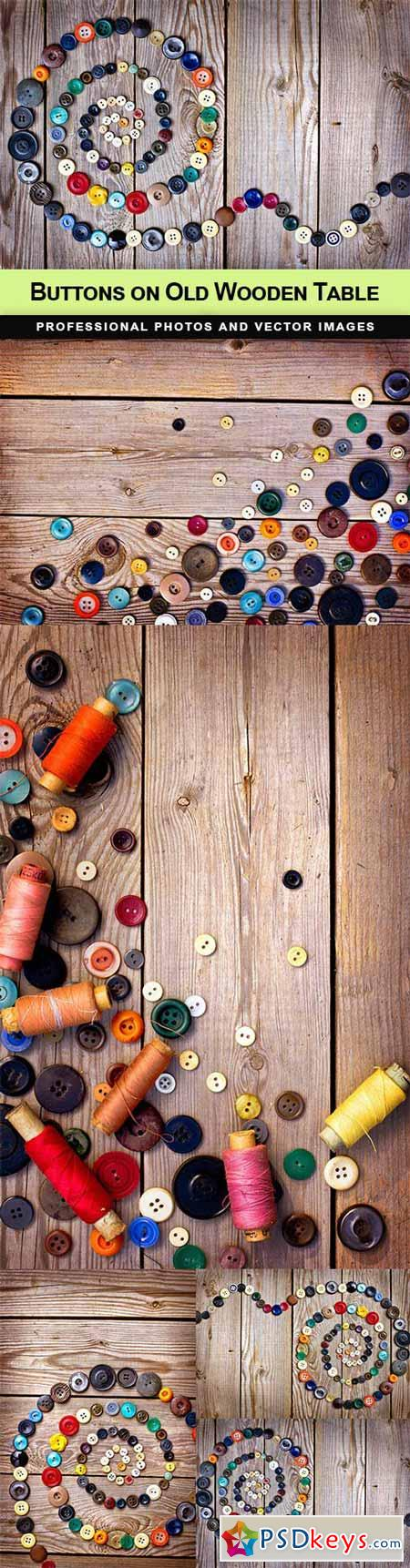 Buttons on Old Wooden Table - 5 UHQ JPEG