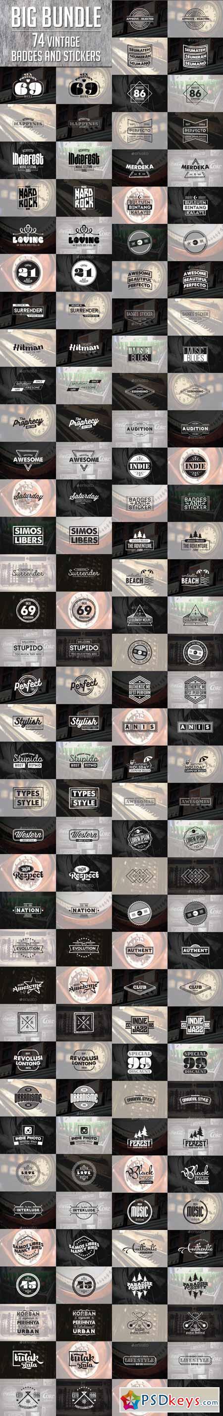 74 Vintage Badges and Stickers - Bundle Vol 2 13105438