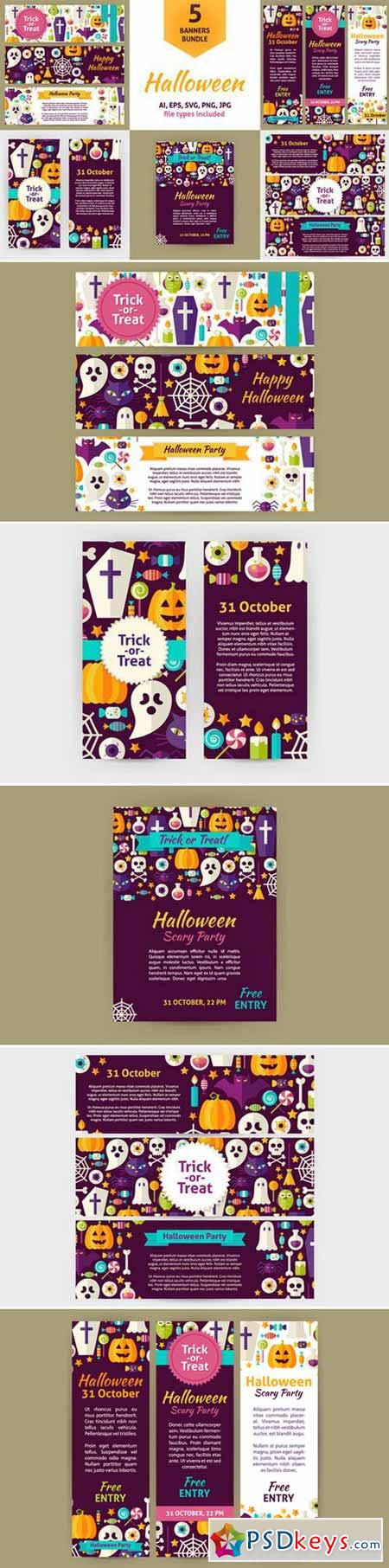 Scary Halloween Vector Flat Banners 390254
