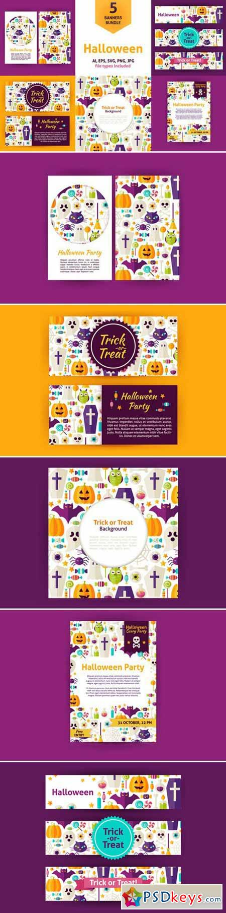 Halloween Party Vector Flat Banners 390279