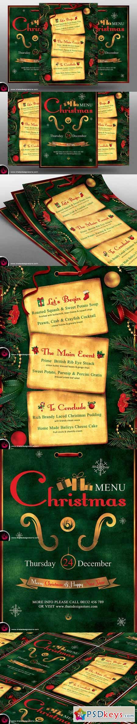 christmas menu template v photoshop vector christmas menu template v2 392586