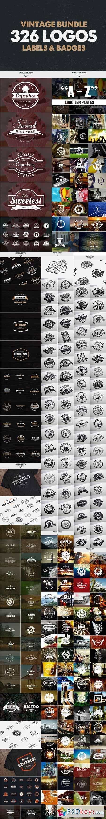 MEGA BUNDLE 326 Vintage Logos Badges 56141