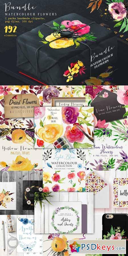 Bundle Watercolour Flowers 390733