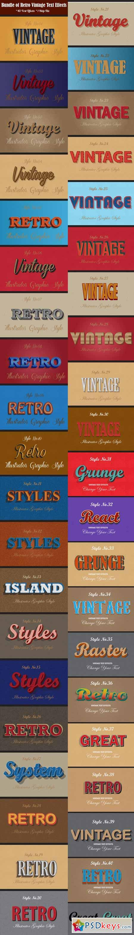 Bundle of Retro Vintage Text Effects 12913324