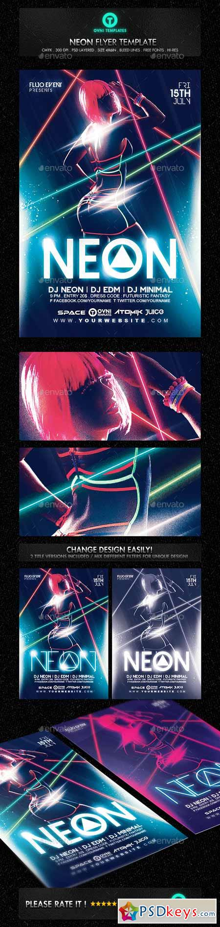 Neon Laser Fluo Light Sexy Flyer Template 13124617
