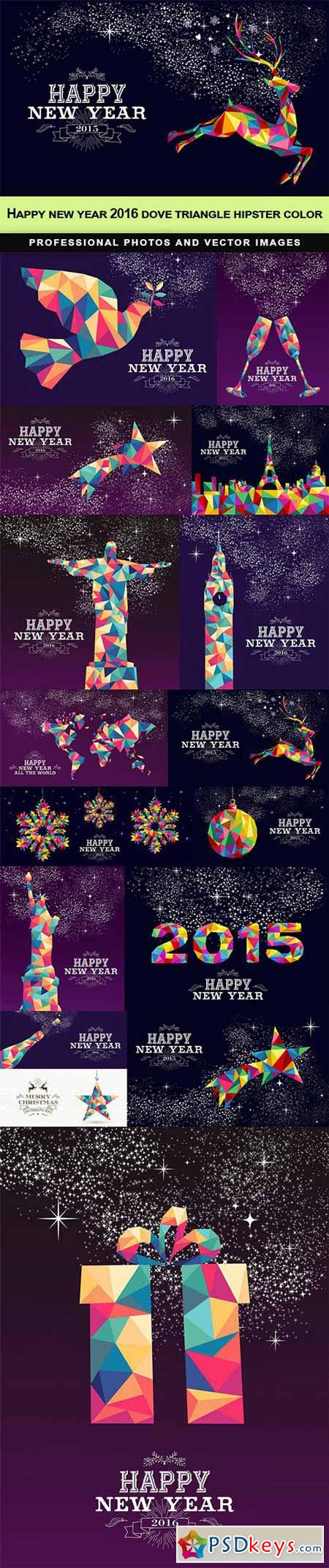 Happy new year 2016 dove triangle hipster color - 15 EPS