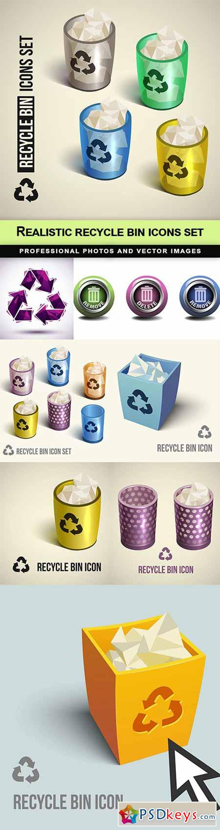 Realistic recycle bin icons set - 8 EPS