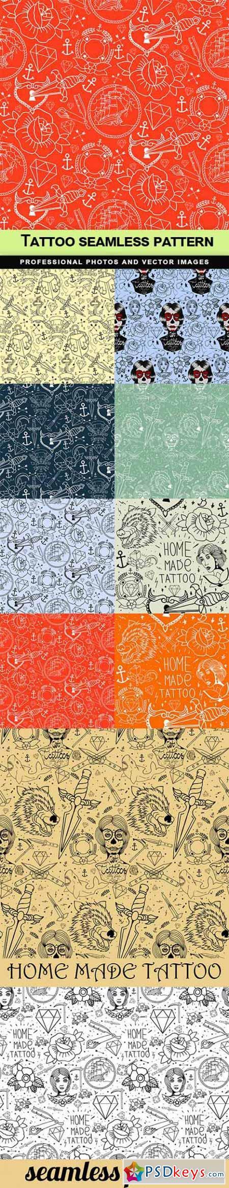 Tattoo seamless pattern - 10 EPS