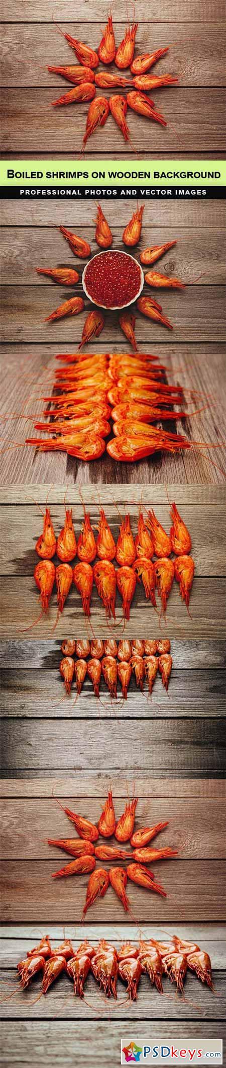 Boiled shrimps on wooden background - 6 UHQ JPEG