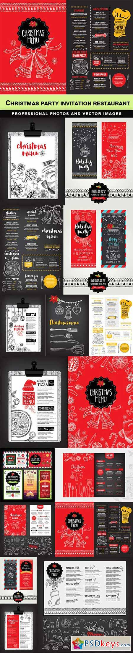 Christmas party invitation restaurant - 15 EPS