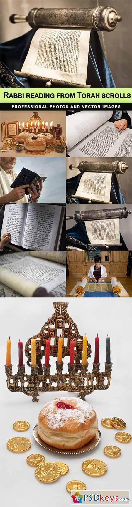 Rabbi reading from Torah scrolls