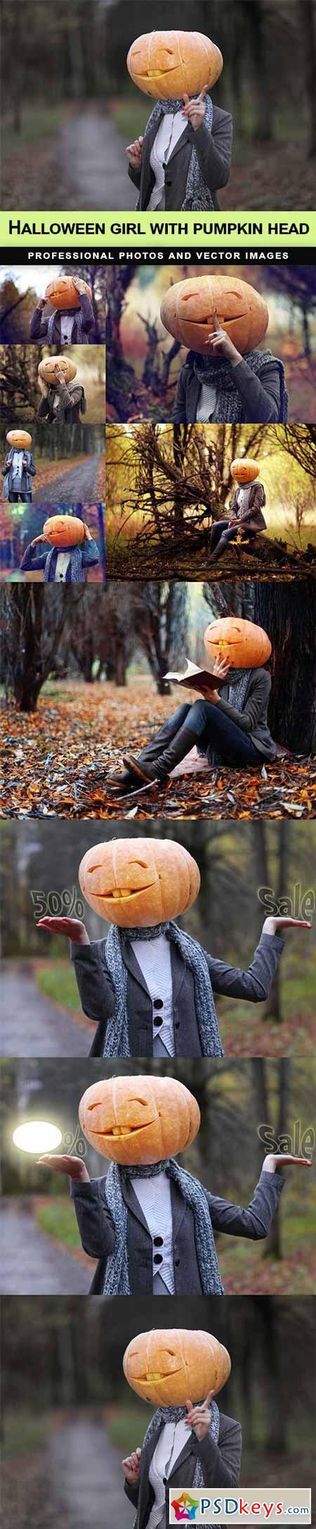 Halloween girl with pumpkin head - 10 UHQ JPEG