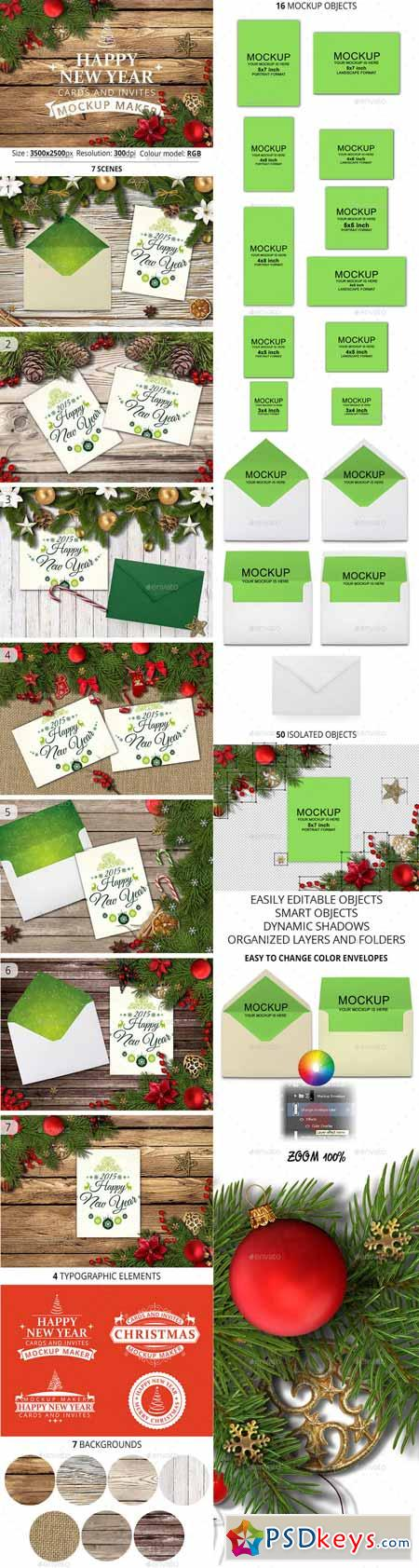 Happy New Year Cards And Invites Mockup Maker 12701120