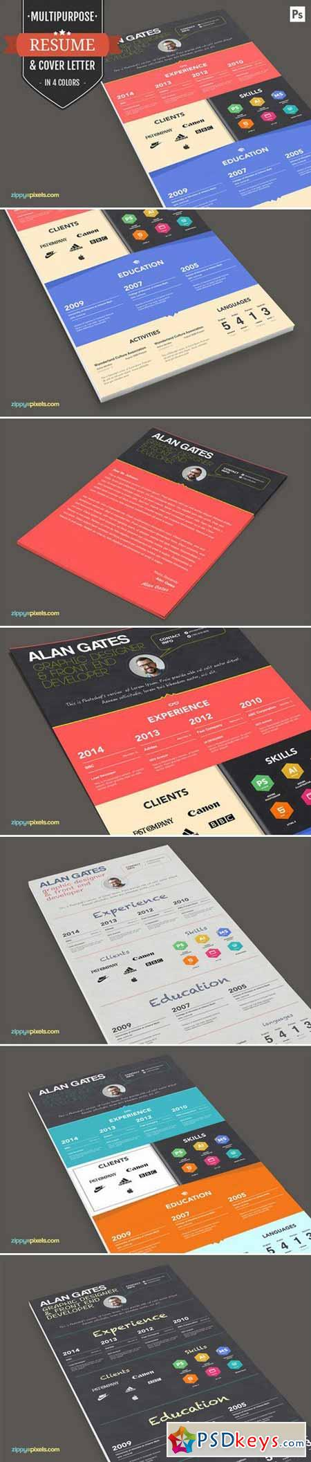 Print Ready Resume CV Template Set 394588