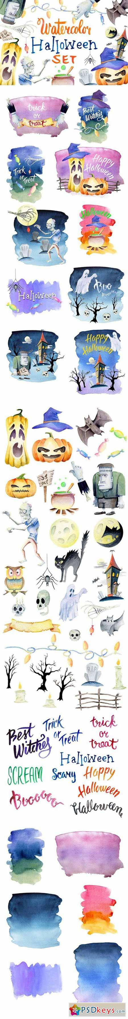 Watercolor Halloween Set 399511