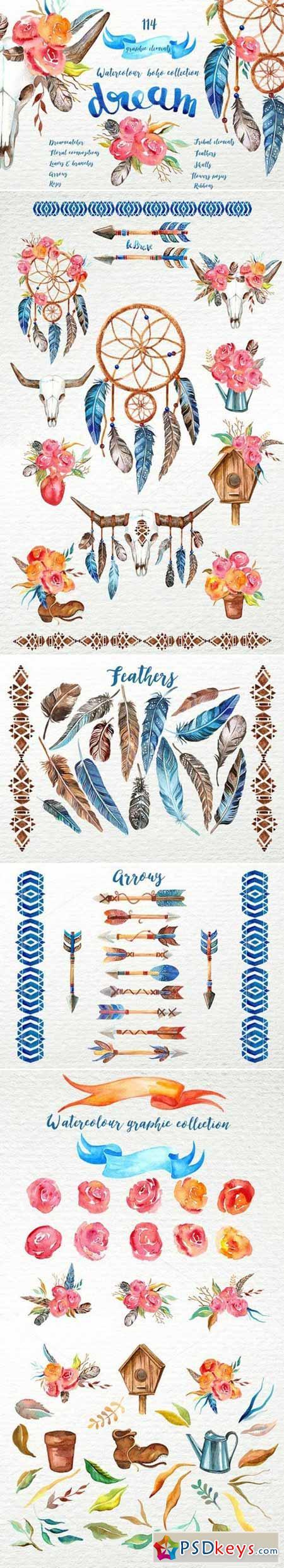 Watercolour boho dream collection 395692