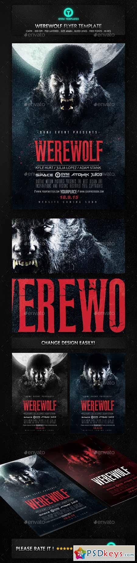 Werewolf Dark Horror Movie Flyer Poster Template