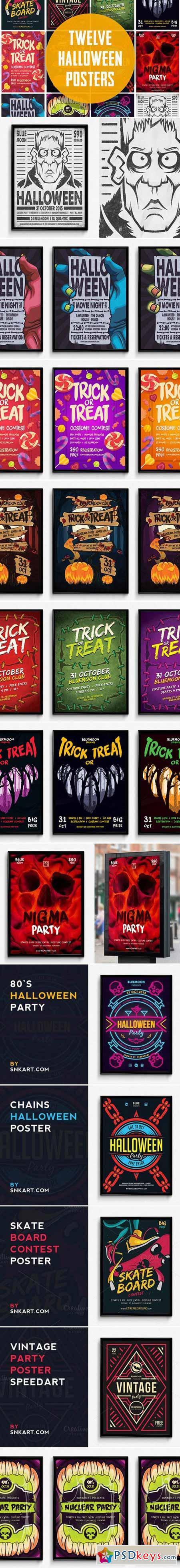 12 Halloween Posters Bundle 402988