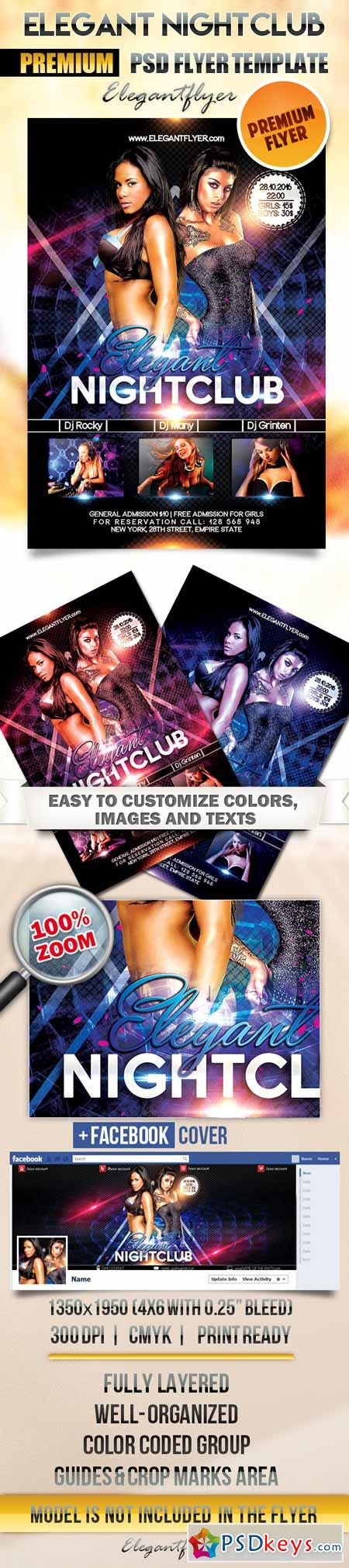 Elegant Nightclub – Flyer PSD Template + Facebook Cover