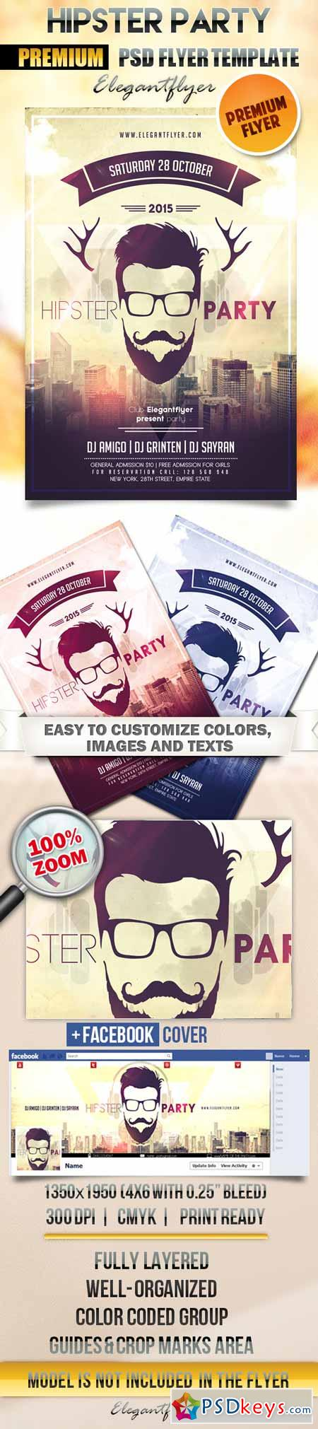 Hipster Party – Flyer PSD Template + Facebook Cover
