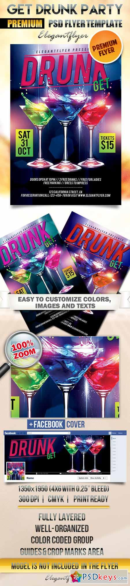 Get Drunk Party – Flyer PSD Template + Facebook Cover